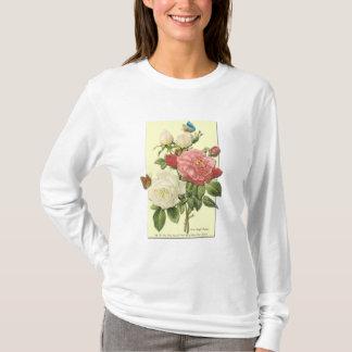 Rosa weiße Vintage botanische Rosen T-Shirt
