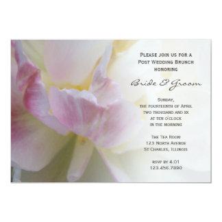 Rosa weißer Tulpe-Blumen-Posten-HochzeitBrunch 12,7 X 17,8 Cm Einladungskarte
