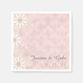 Rosa weißes Damast-Gänseblümchen-Blumenhochzeit Papierservietten