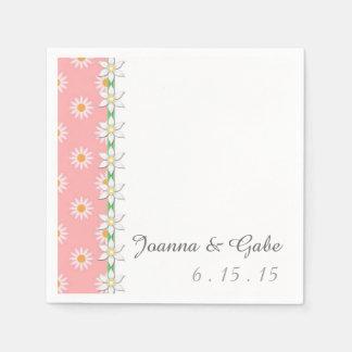 Rosa weißes grünes Gänseblümchen-Blumenhochzeit Servietten