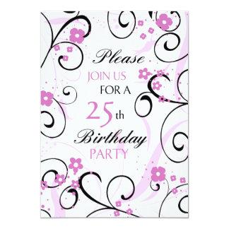 Rosa Wirbels-25. Geburtstags-Party Einladungskarten