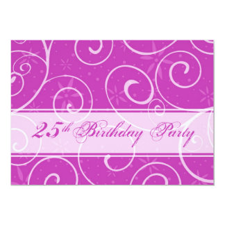 Rosa Wirbels-25. Geburtstags-Party Ankündigungskarten