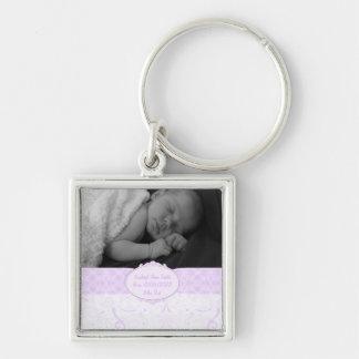 Rosa Wirbles Spitze-Baby-Foto Schlüsselanhänger