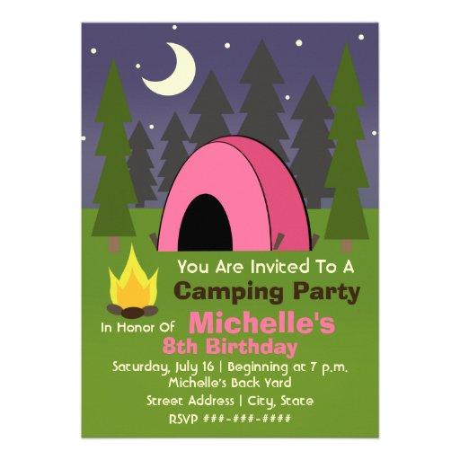 Rosa Zelt-Campings-Geburtstags-Party Einladung