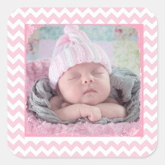 Rosa Zickzack Aufkleber mit Ihrem Baby-Foto