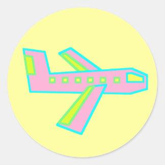 Rosa Zooper Flugzeug Runder Aufkleber