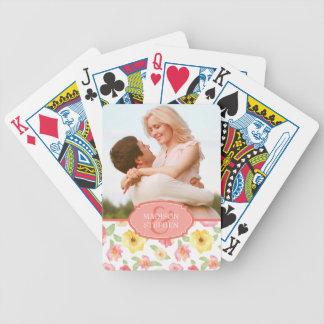 Rosau. GelbblumenWatercolor - Hochzeits-Foto Poker Karten