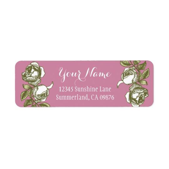 Rose, die weiße Goldrosa kundenspezifisches Kleiner Adressaufkleber