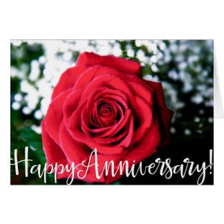 Rose + Glücklicher Jahrestag! Grußkarte