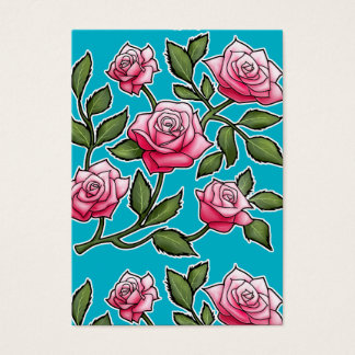 Rose mit Blumen - Unterwasseratemgerät-Blau Jumbo-Visitenkarten