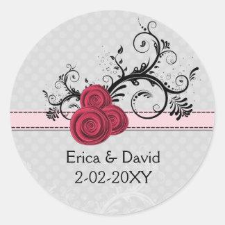rose pink  envelope seals round sticker