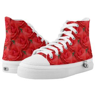 Rosen-Blumen-Natur-Muster Hoch-geschnittene Sneaker