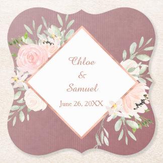 Rosen-erröten Blumenrahmen-Hochzeit Untersetzer