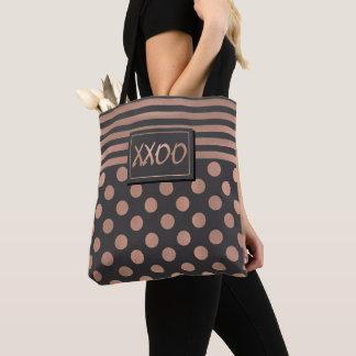 Rosen-Gold und graue XXOO Taschen-Tasche