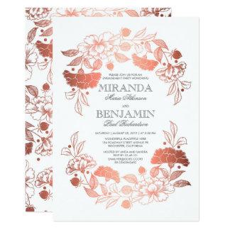 Rosen-Goldblumenwreath-elegantes Verlobungs-Party 12,7 X 17,8 Cm Einladungskarte