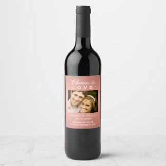 Rosen-Goldhochzeits-Foto-Wein-Flaschen-Bevorzugung Weinetikett
