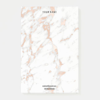 Rosen-Goldmarmor-weiße graues Post-it Klebezettel