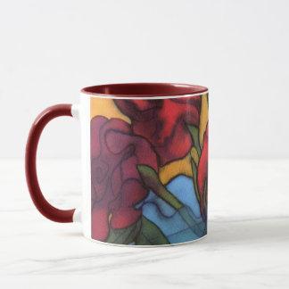 Rosen in einer blauen Vasen-Tasse 2 Tasse
