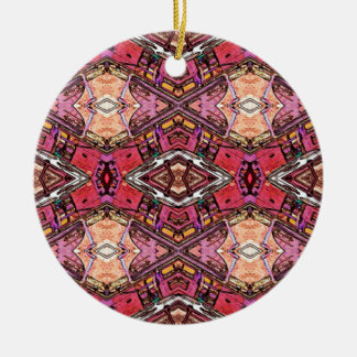 Rosen-orange geometrische rundes keramik ornament