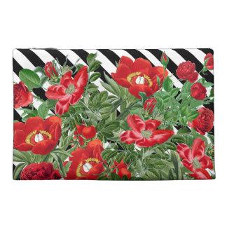 Rosen-Pfingstrosen-Blumen-Vintage zusätzliche mit Reisekulturtasche
