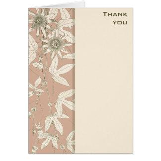 Rosen-rosa botanische Blumen danken Ihnen Karte