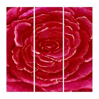 Rosen-rotes dreifaches Platten-Wand-Hängen Triptychon