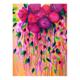 ROSEN SIND KRASSE 2 - mutige rosarote Rosen Postkarte