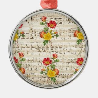 Rosen-Traummuster Rundes Silberfarbenes Ornament