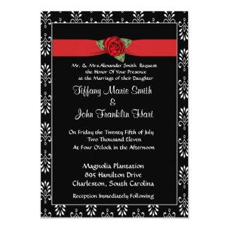 Rosen-und Band-Hochzeits-Einladung