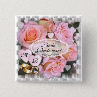 Rosen und Herzen ~ Hochzeits-Knopf Quadratischer Button 5,1 Cm