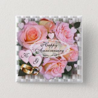 Rosen und Herzen ~ Jahrestags-Knopf Quadratischer Button 5,1 Cm