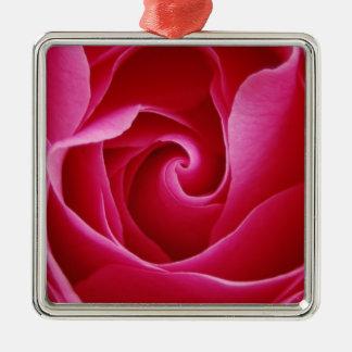 Rosen-Verzierung Quadratisches Silberfarbenes Ornament