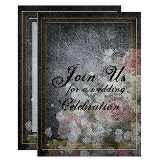 Rosen-Wasserzeichen auf Schiefer-Grau 12,7 X 17,8 Cm Einladungskarte