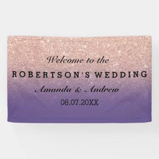 RosengoldImitat-Glitter lila ombre Hochzeit Banner