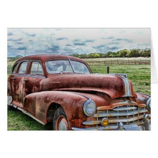 Rostiges altes klassisches Auto-Vintages Automobil Mitteilungskarte