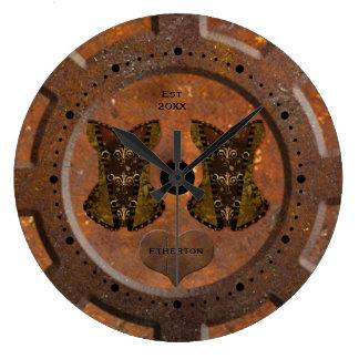 Rostiges Blaues und Messing tont Steampunk Uhr