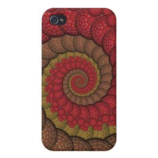 Rostiges rotes und orange Pfau-Fraktal iPhone 4/4S Case