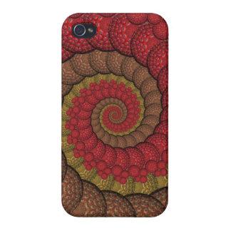 Rostiges rotes und orange Pfau-Fraktal iPhone 4/4S Hüllen