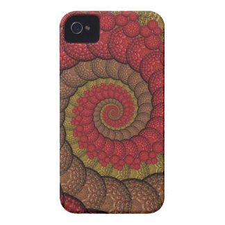 Rostiges rotes und orange Pfau-Fraktal iPhone 4 Etuis