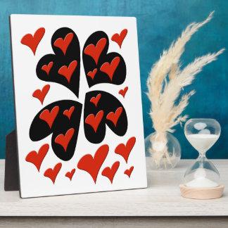 Rot auf schwarzen Herzen Fotoplatte