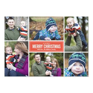 Rot der Foto-Collagen-Weihnachtsgruß-Karten-| 12,7 X 17,8 Cm Einladungskarte