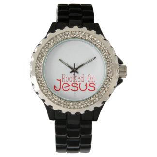 Rot gehakt auf Jesus schwarzer Rhinestone-Uhr Uhr