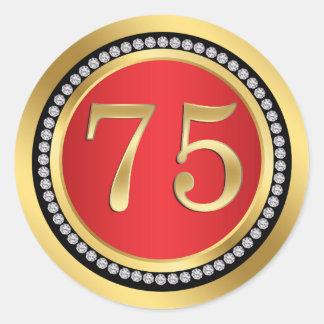 Rot, Gold, Druckdiamanten 75. Hochzeitstag Runder Aufkleber