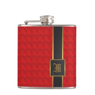 Rot, Gold und Leder Flachmann