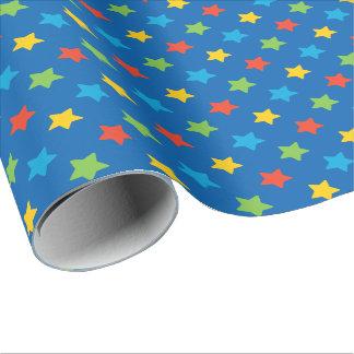 Rot, Grün-gelbe und blaue Sternchen-Vereinbarung Geschenkpapier