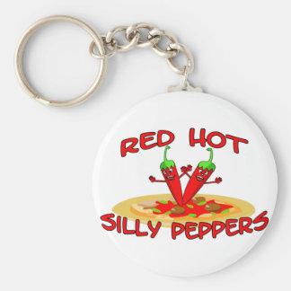 Rot - heiße alberne Paprikaschoten Schlüsselanhänger
