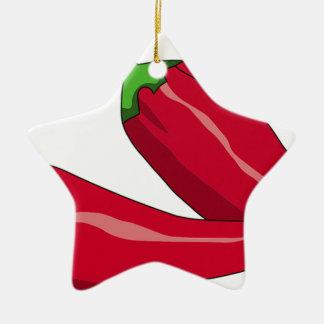Rot - heiße Chili-Paprikaschoten Keramik Stern-Ornament