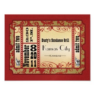 Rot u. GoldShowbill Hochzeits-Wartekarten 10,8 X 14 Cm Einladungskarte