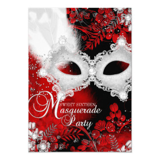 Rot- u. Weißschein Masken-Maskerade-Bonbon 16 12,7 X 17,8 Cm Einladungskarte