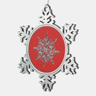 Rot u. Zinn-Schneeflocke-Verzierung Schneeflocken Zinn-Ornament